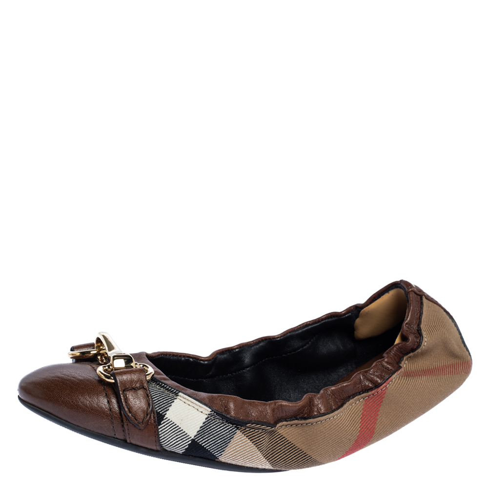 Pre-owned Burberry Brown House Check Canvas And Leather Shipley Ballet Flats Size 38
