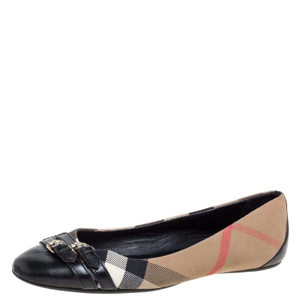 Pre-owned Burberry Beige /black Nova Check Canvas And Leather Buckle Detail Ballet Flats Size 40