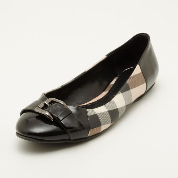 56c2494b2fc Buy Burberry Nova Check Ballerina Flats with Buckles Size 40 36776 ...