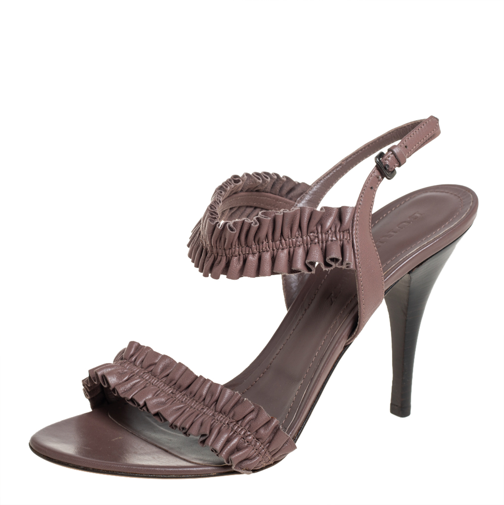 Pre-owned Burberry Brown Leather Ruffle Slingback Sandals Size 40