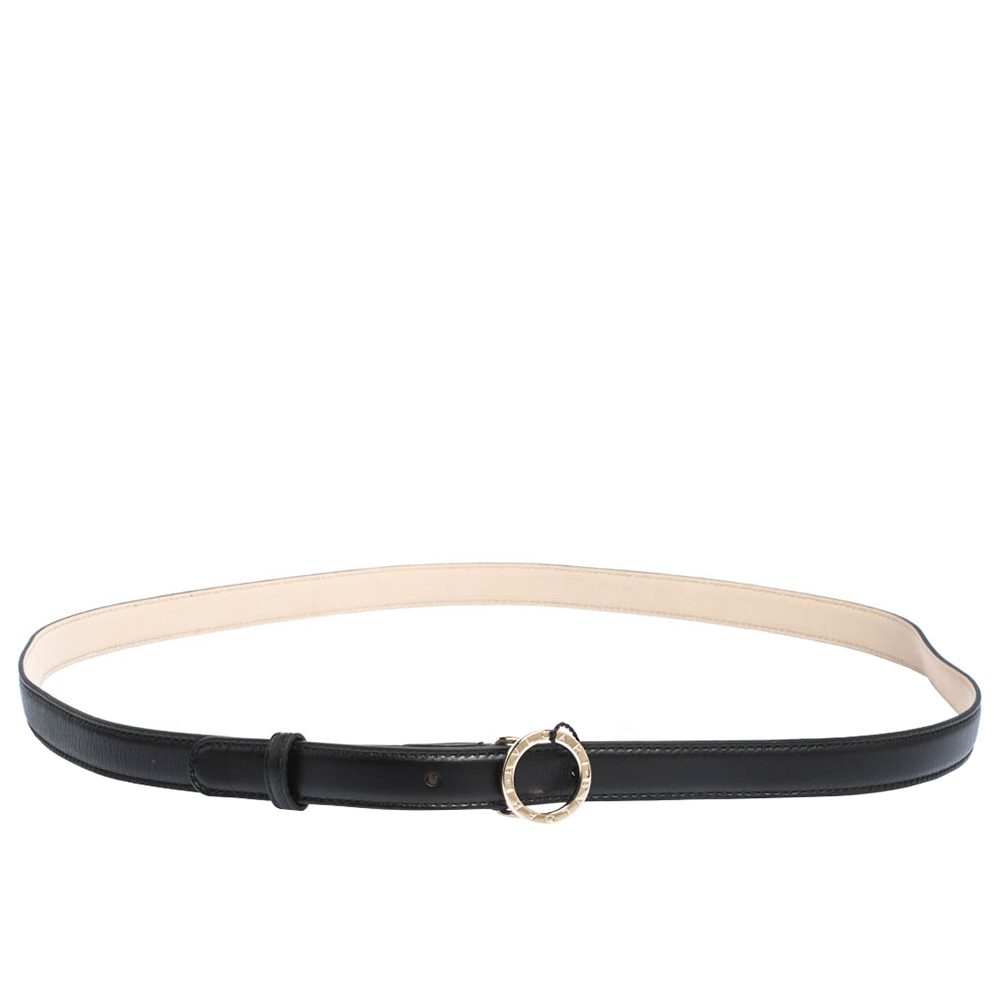 Bvlgari Black Leather Ring Buckle Belt 110CM