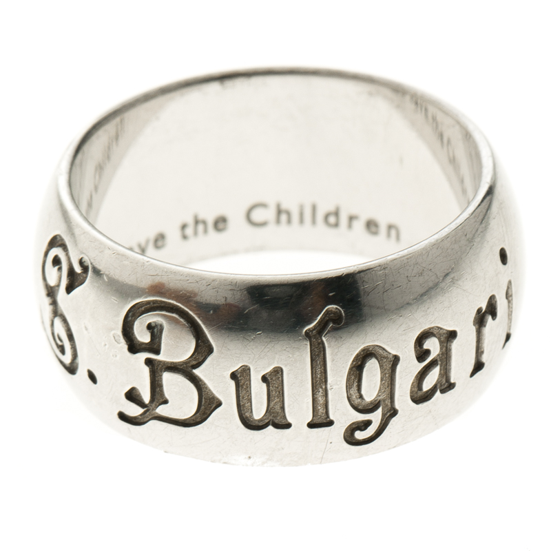 Bvlgari Save The Chidren Silver Band Ring Size 57