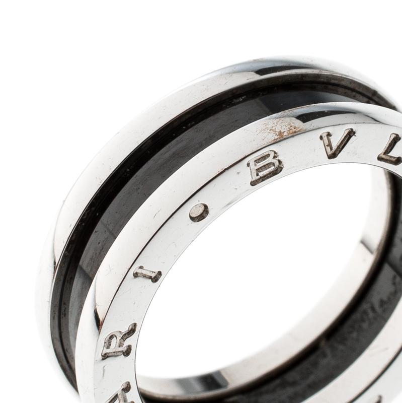 Bvlgari Save The Children 1 Band Black Ceramic Silver Ring Size 54