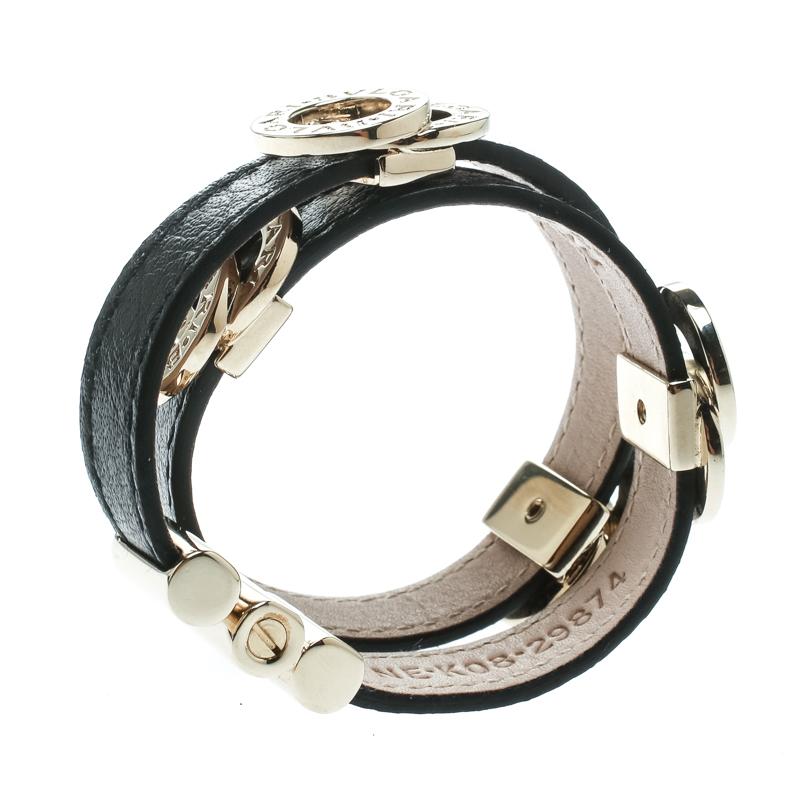 Купить со скидкой Bvlgari Black Leather Gold Tone Double Wrap Bracelet