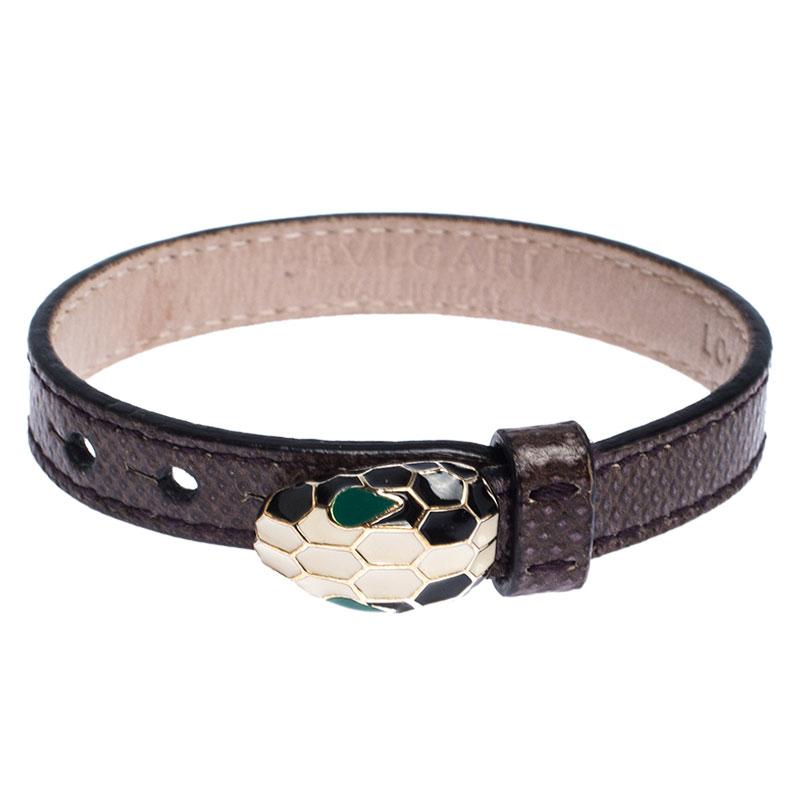 Bvlgari Serpenti Brown Karung Gold Plated Bracelet