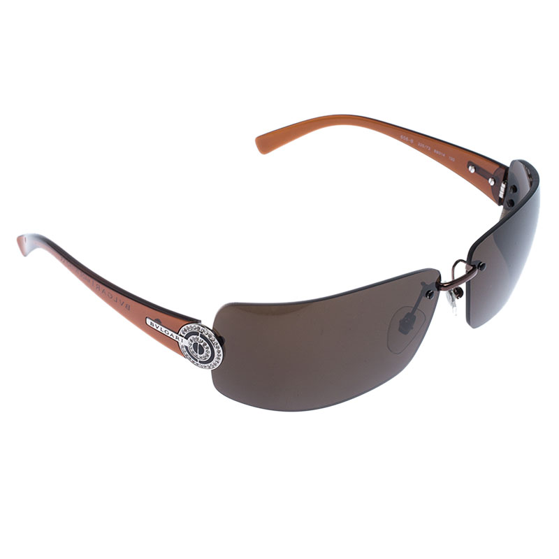 Bvlgari Brown Crystal Embellished 656-B Rimless Sunglasses