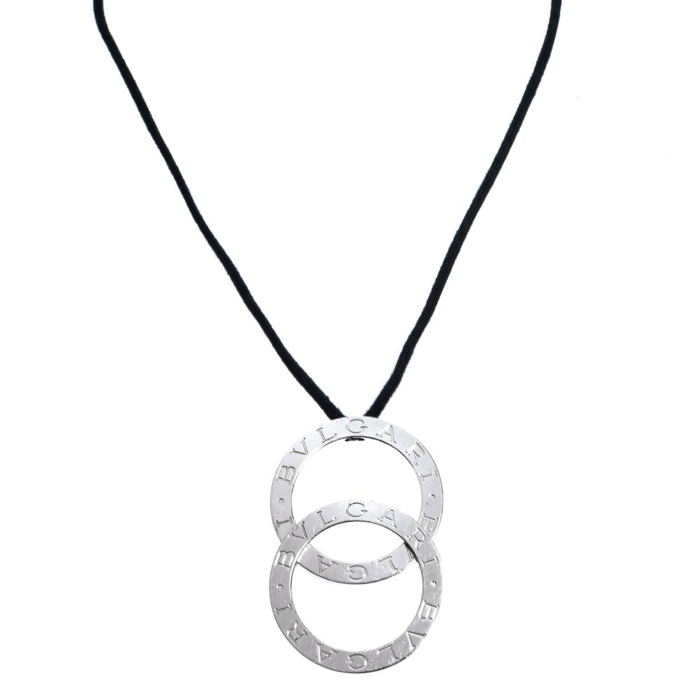 Bvlgari Fortuna Grande Silver Pendant Black Cord Necklace