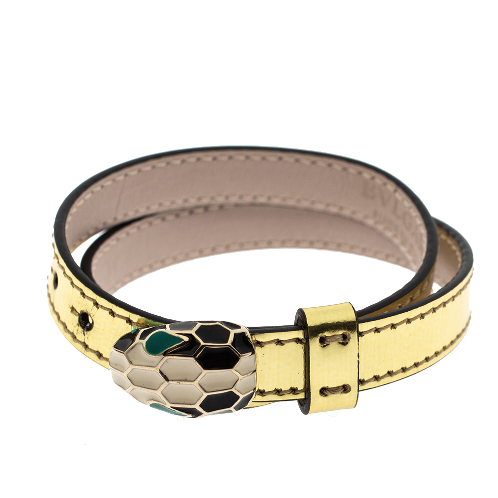 Bvlgari Serpenti Forever Enamel Metallic Leather Gold Plated Double Coiled Bracelet