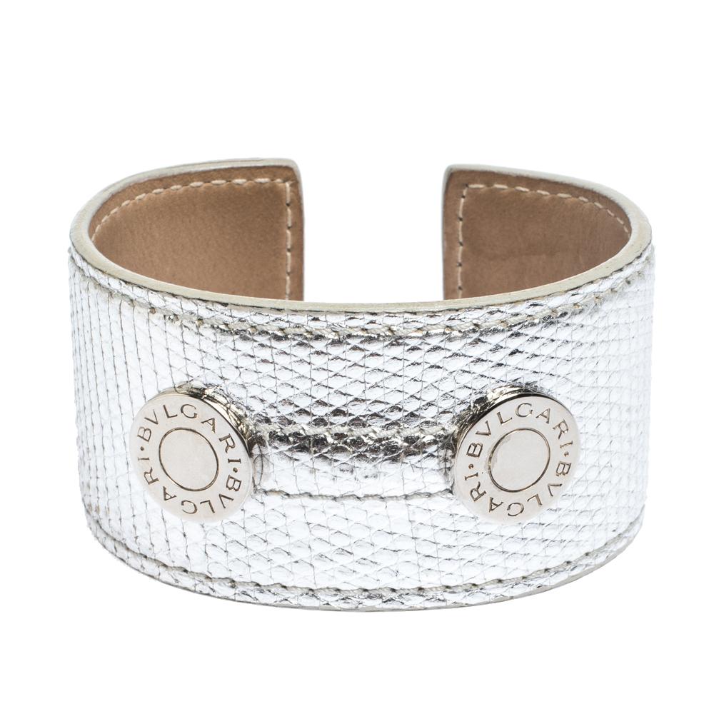 Bvlgari Metallic Silver Karung Leather Silver Tone Wide Cuff Bracelet