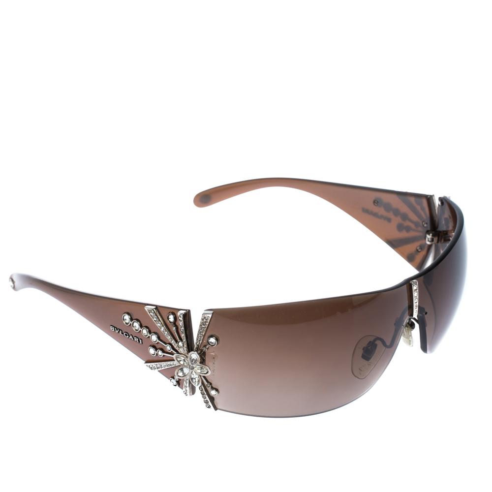 Bvlgari Beige/Brown Gradient Limited Edition Shield Sunglasses