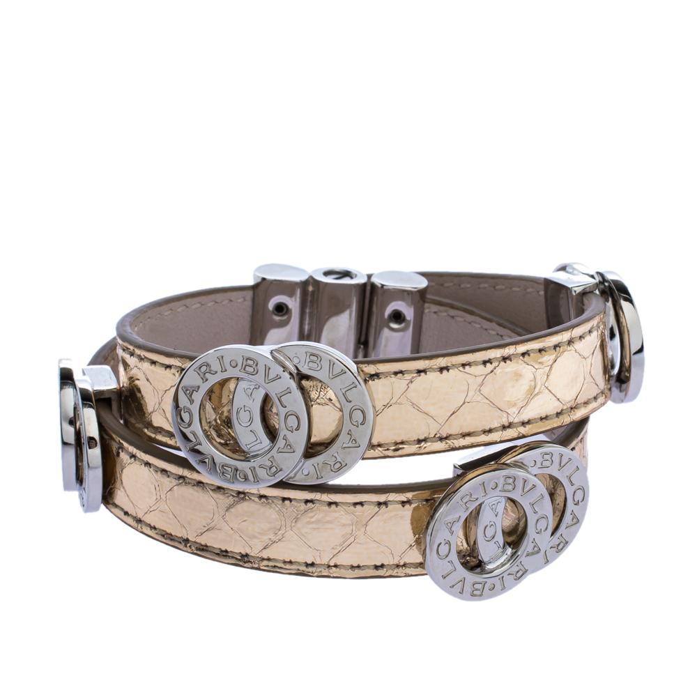 Bvlgari Metallic Gold Leather Double Coiled Bracelet