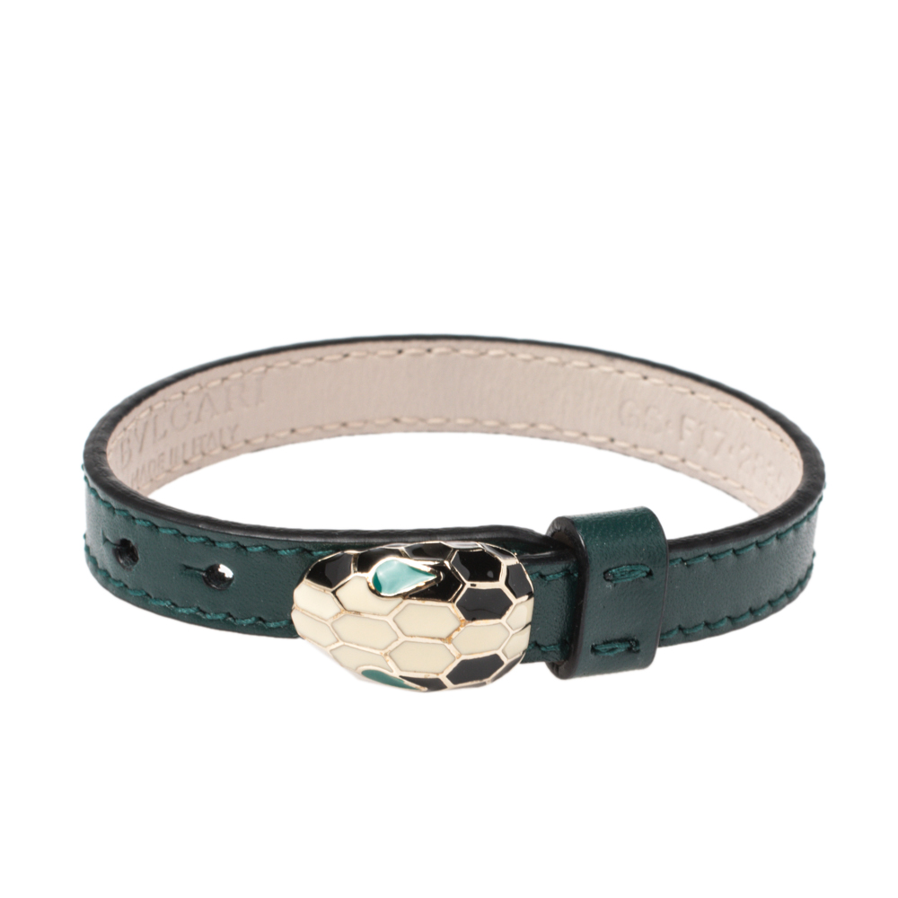 Bvlgari Serpenti Forever Emerald Green Leather Bracelet