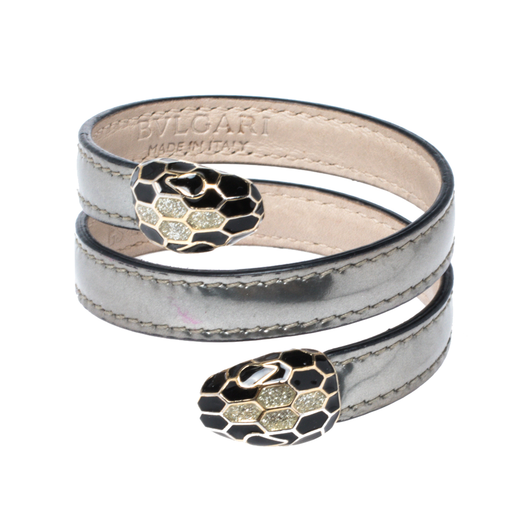 Pre-owned Bvlgari Serpenti Forever Metallic Silver Leather Multi Coiled Cleopatra Bracelet