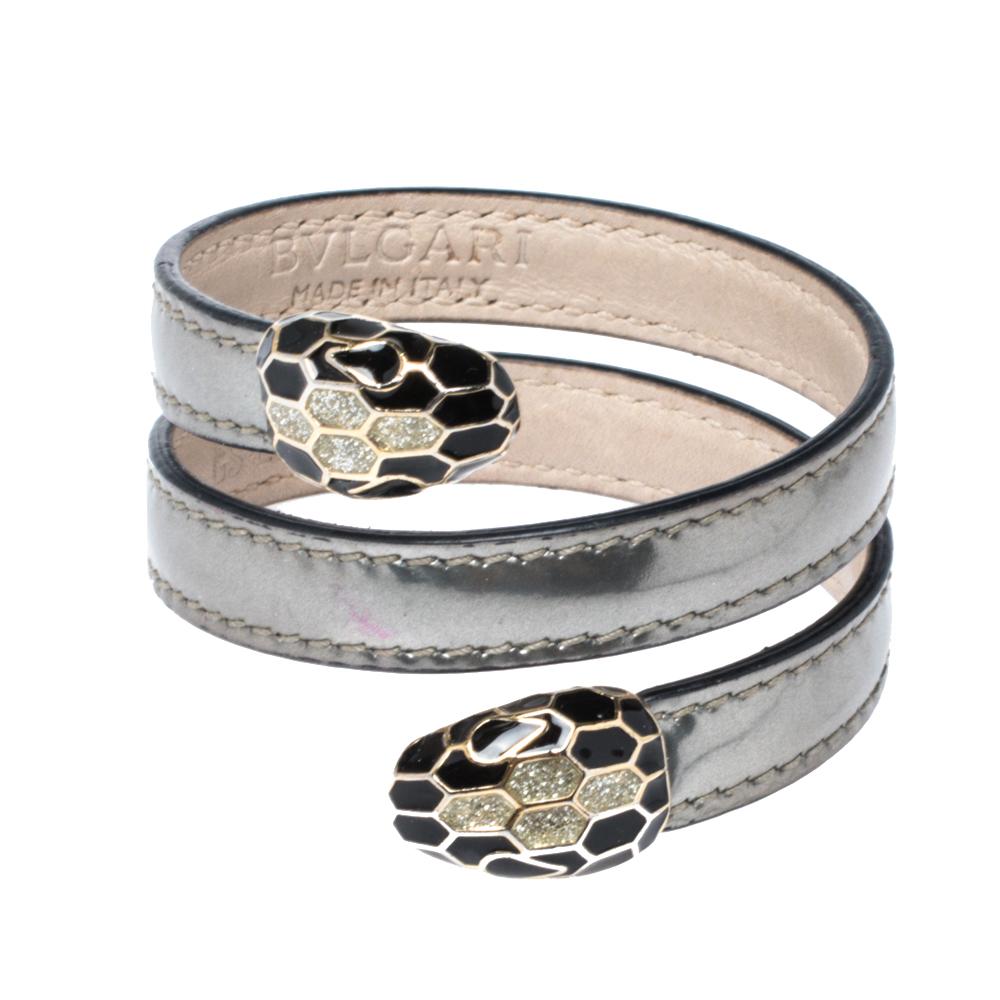 Bvlgari Serpenti Forever Metallic Silver Leather Multi Coiled Cleopatra Bracelet