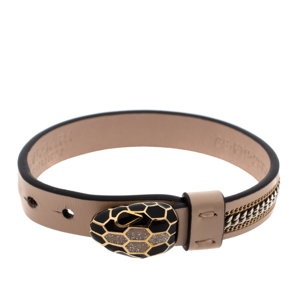 Bvlgari Serpenti Forever 3 Chain Motif Enamel Milky Opal Leather Gold Plated Bracelet