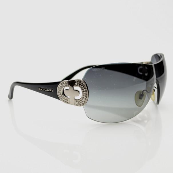 Bvlgari Black Strass-Edge Shield Sunglasses