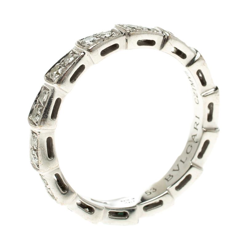 e27432f1f7150 ... Bvlgari Serpenti Pave Diamonds & White Gold Wedding Band Ring Size 53.  nextprev. prevnext