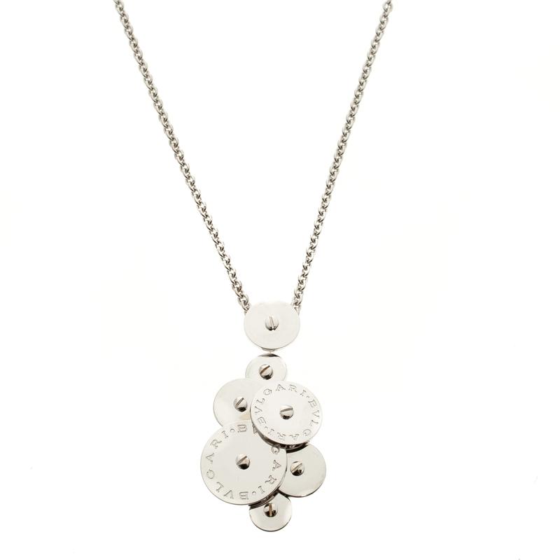 Bvlgari Cicladi 18k White Gold Rotating Disc Pendant Chain Necklace