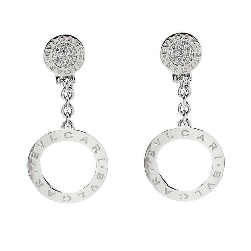 Купить со скидкой Bvlgari Diamond 18k White Gold Drop Earrings