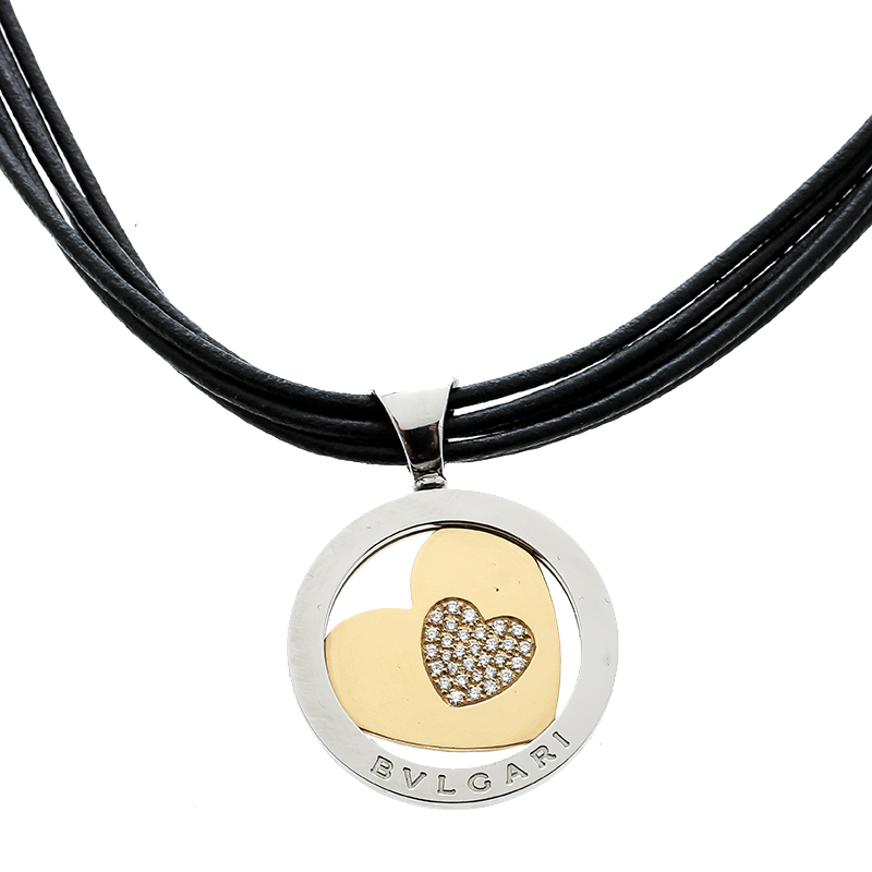 Купить со скидкой Bvlgari Tondo Heart Diamond 18k Yellow Gold Stainless Steel Pendant Cord Necklace