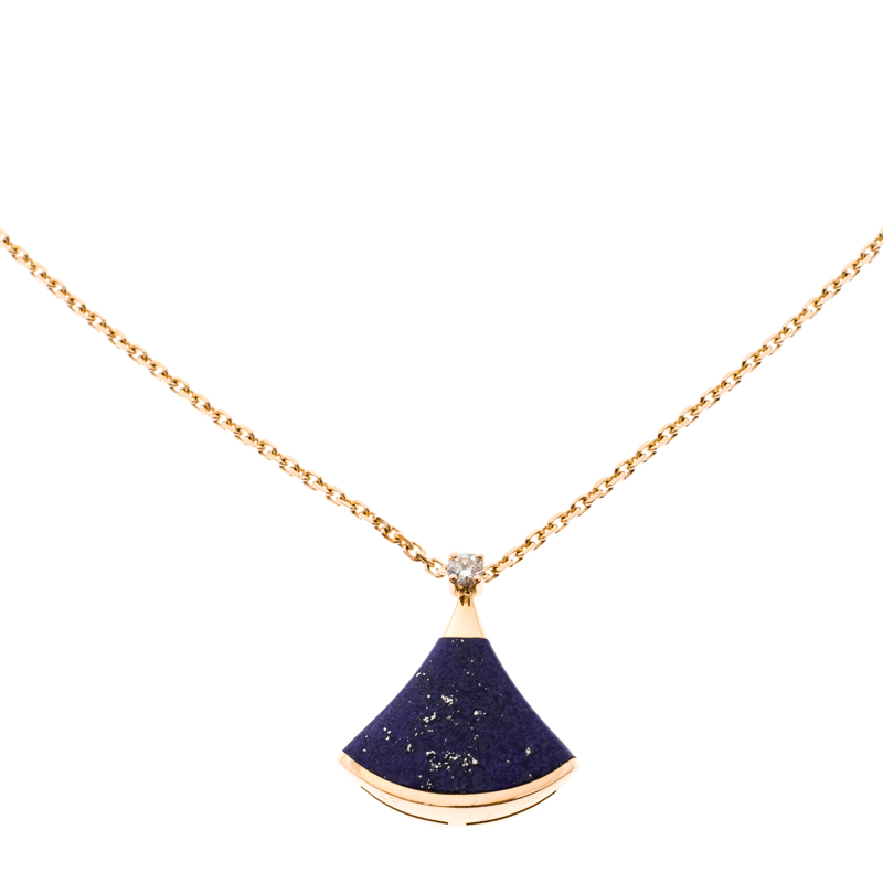 Bvlgari Divas' Dream Diamond Lapis Lazuli 18k Rose Gold Pendant Necklace