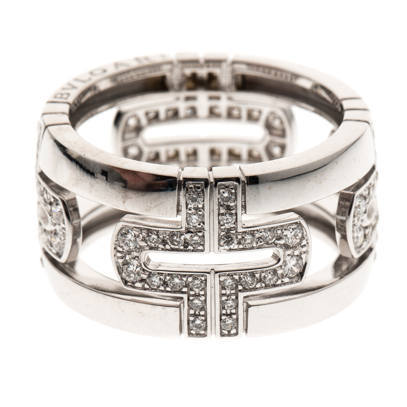 Купить со скидкой Bvlgari Parentesi Diamond 18K White Gold Band Ring Size 54