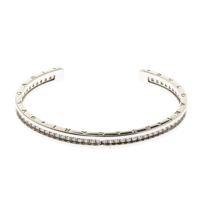 Купить со скидкой Bvlgari B.Zero1 Diamond & 18k White Gold Narrow Open Cuff Bracelet