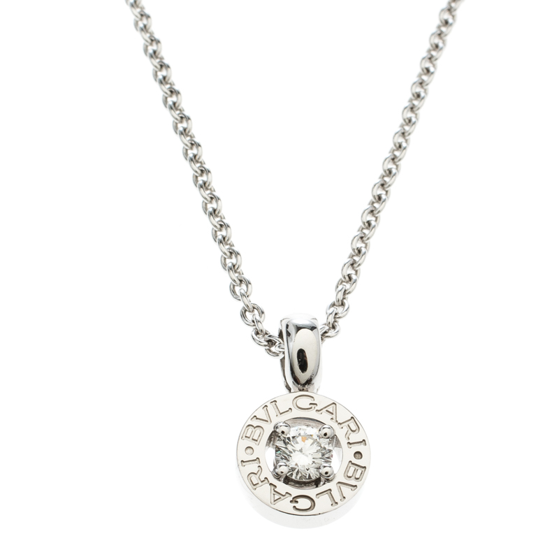 2b81d1b6faa9a Bvlgari Diamond & 18k White Gold Pendant Necklace