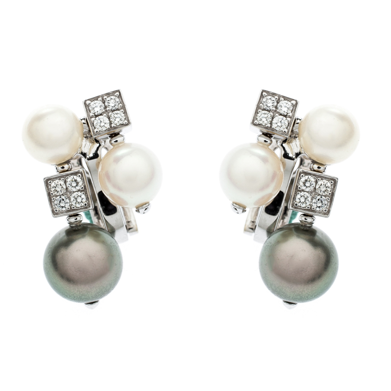 3ecf1619f ... Bvlgari Lucea Diamond Cultured Pearl 18k White Gold Cluster Earrings.  nextprev. prevnext