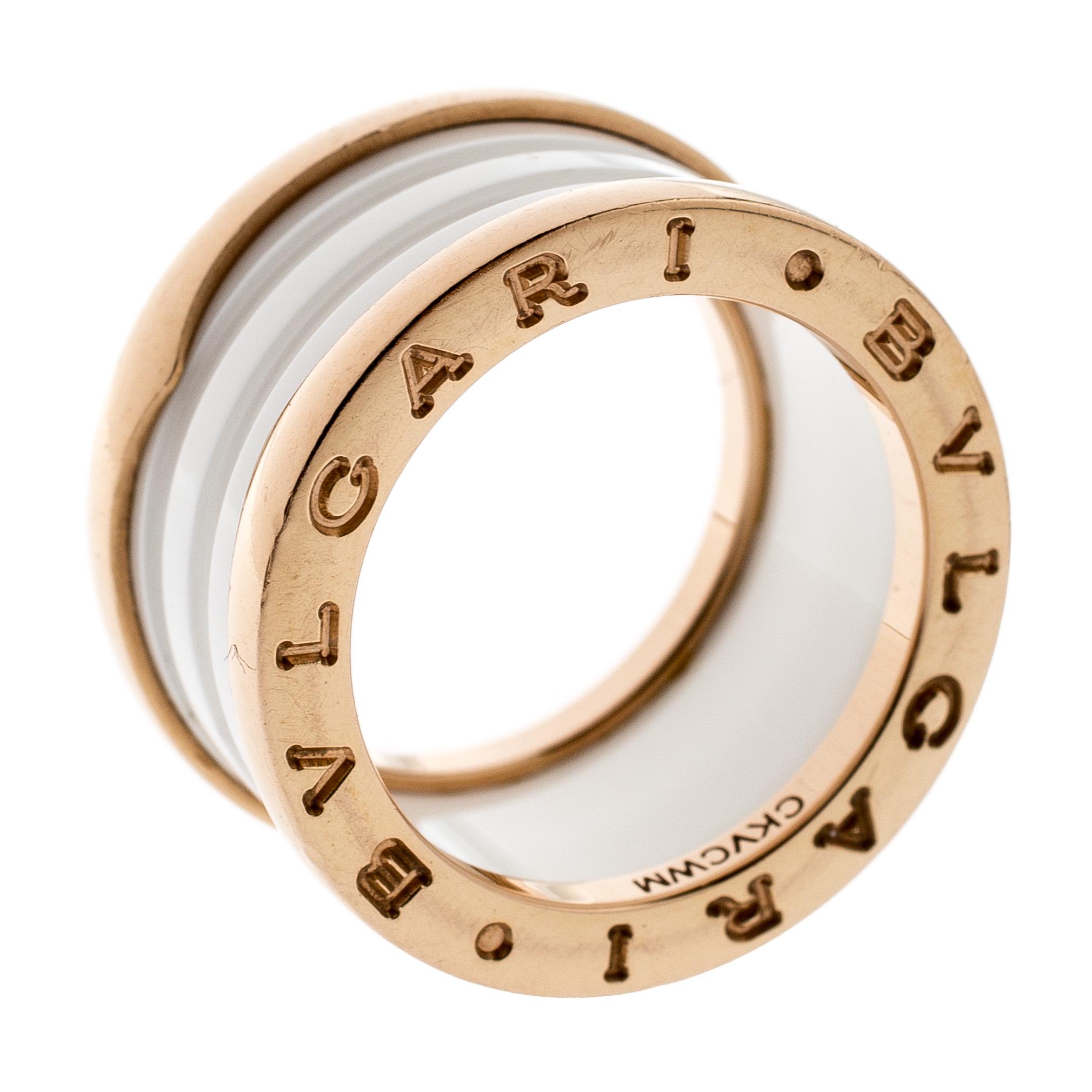 aee307cb4 Buy Bvlgari B.Zero1 4 Band White Ceramic 18k Rose Gold Ring Size 51 ...