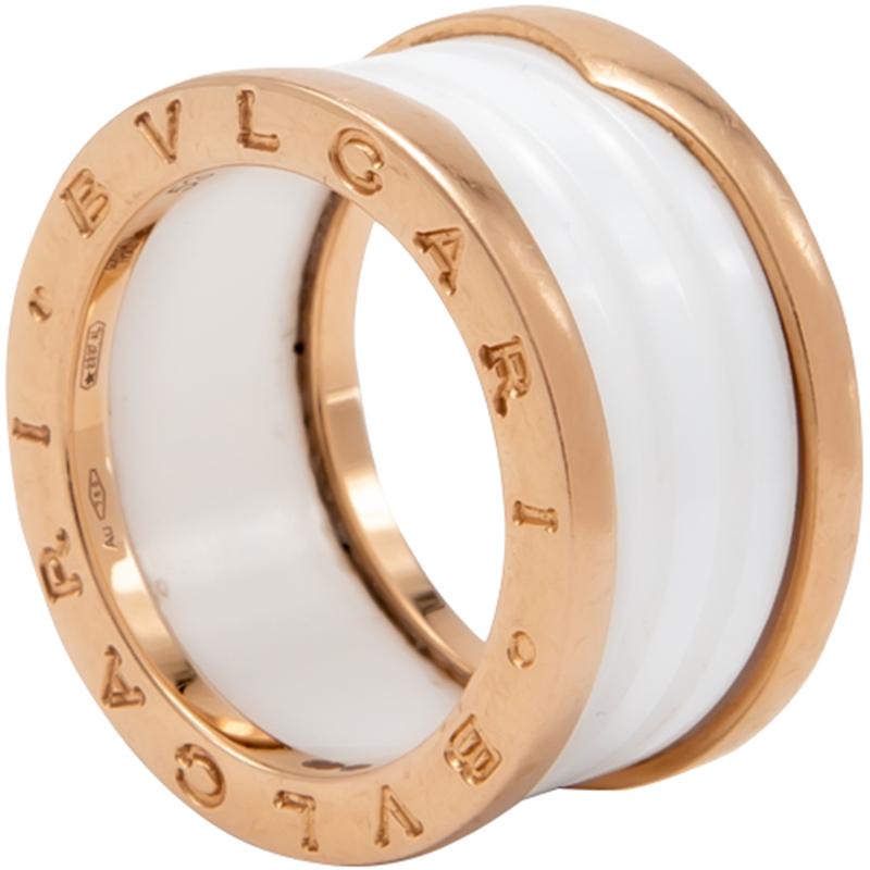 Bvlgari White B Zero White Ceramic 18k Rose Gold Ring Size 53