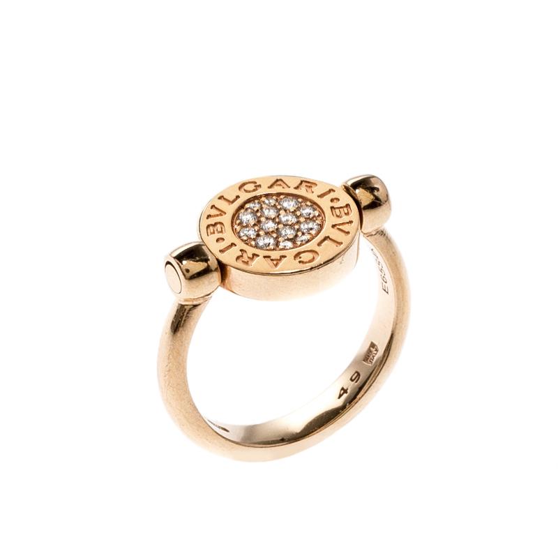 Bvlgari Green Jade Pave Diamonds 18K Rose Gold Flip Ring Size 49