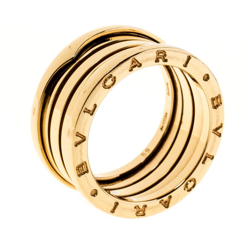Bvlgari B.Zero1 4-Band 18k Yellow Gold Ring Size 59