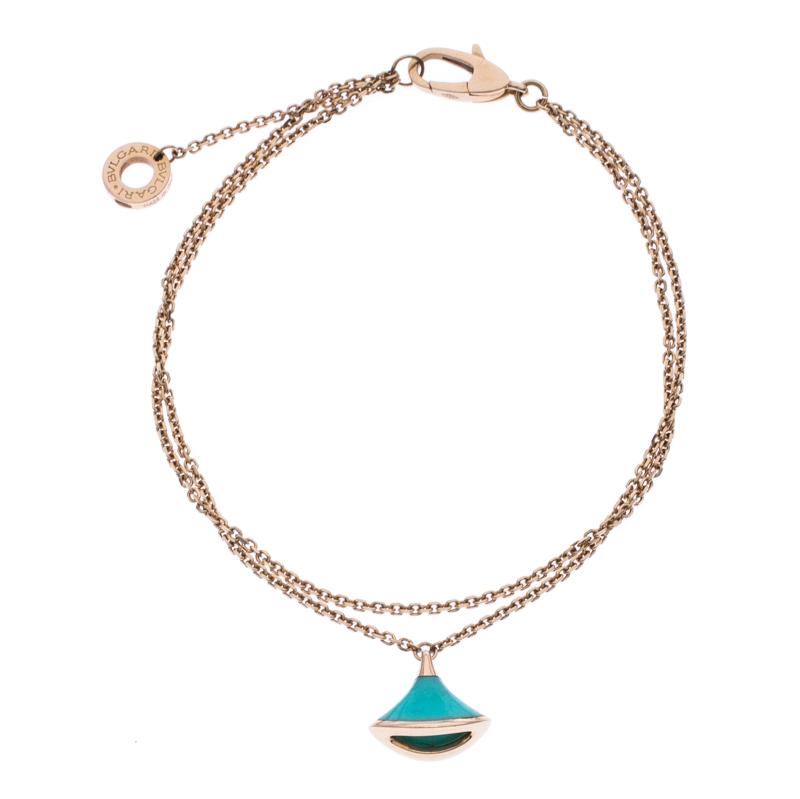 Bvlgari Divas' Dream Turquoise 18k Rose Gold Bracelet Size SM