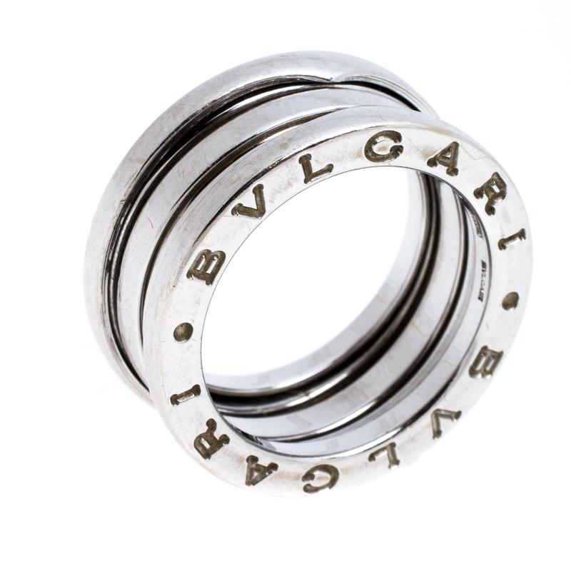 Bvlgari B.Zero1 18K White Gold 3-Band Ring Size 50
