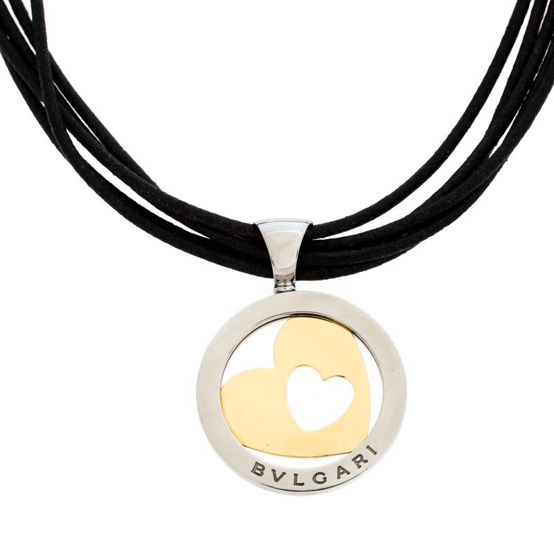 Bvlgari Tondo Heart 18k Gold & Stainless Steel Pendant Cord Necklace