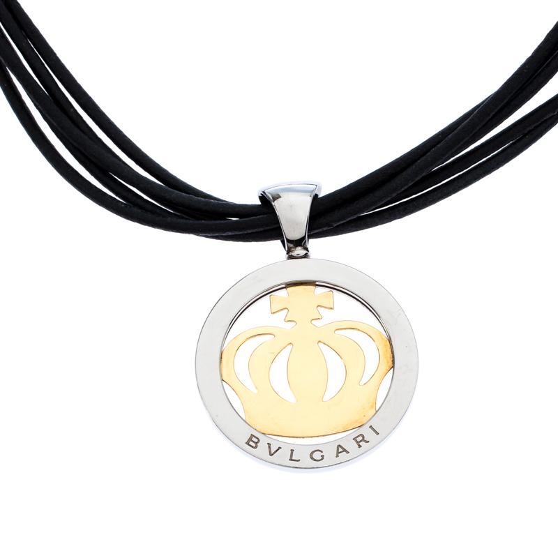 Bvlgari Crown Tondo 18K Yellow Gold Stainless Steel Pendant Cord Necklace