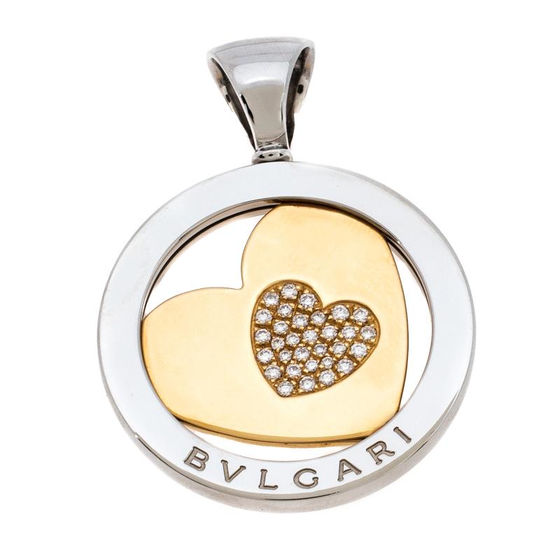 Bvlgari Tondo Heart Diamond 18K Yellow Gold Stainless Steel Pendant