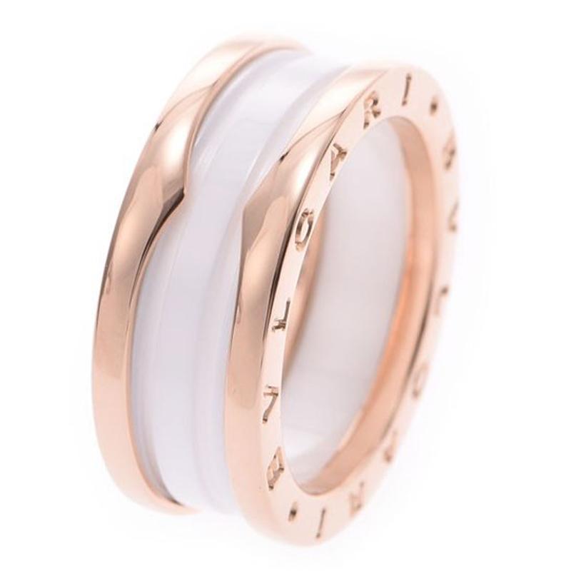 Bvlgari B.Zero1 2-Band White Ceramic 18k Rose Gold Band Ring Size 57