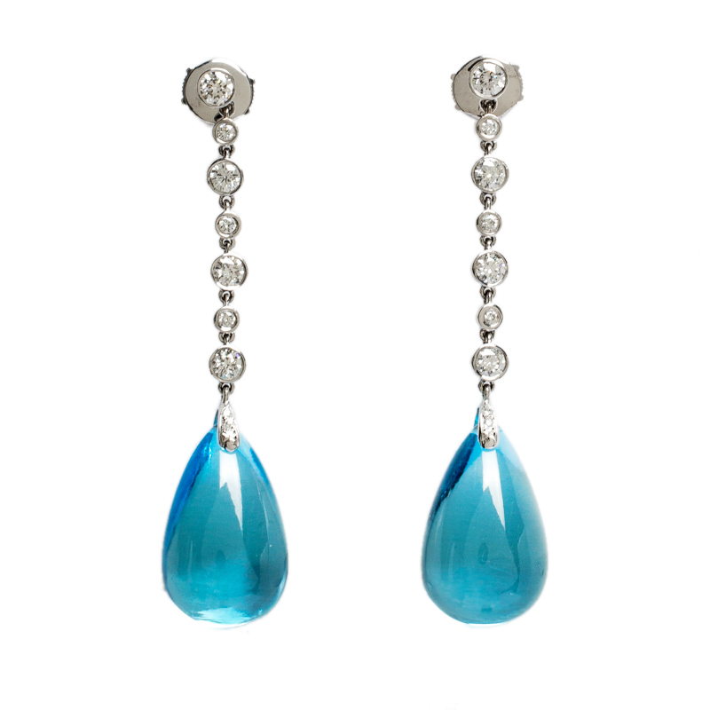 Bvlgari 18K White Gold Diamond and Topaz Stone Drop Earrings