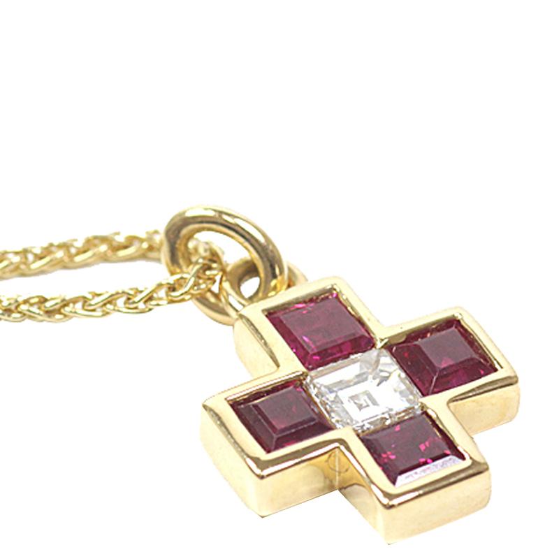 Bvlgari Ruby Diamond And 18K Yellow Gold Cross Pendant Necklace