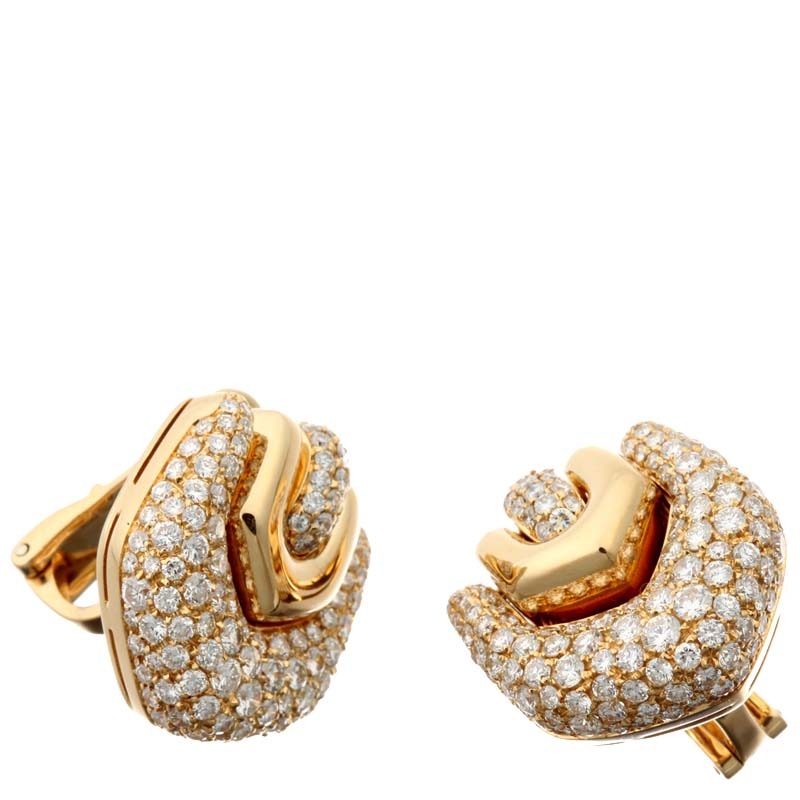 Bvlgari 18K Yellow Gold Pave Diamond Earrings