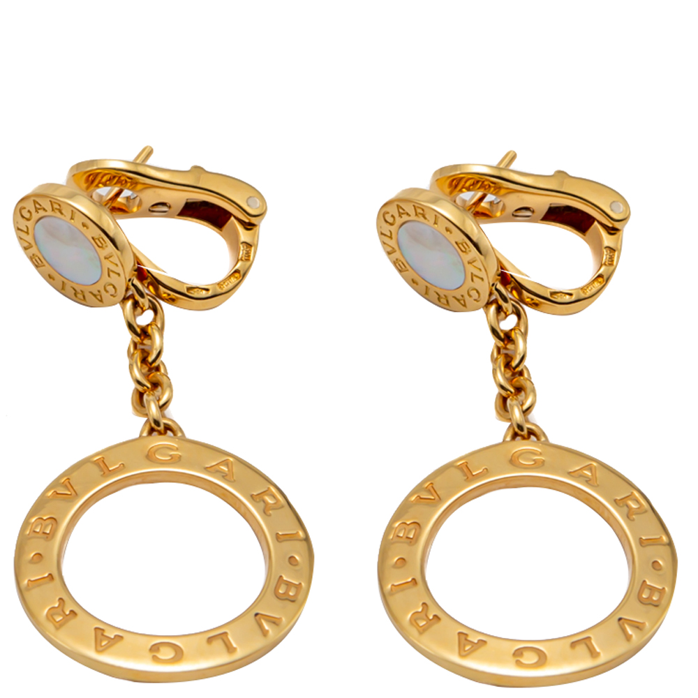 Bvlgari Yellow Gold & Mother Of Pearl Bvlgari Bvlgari Earrings
