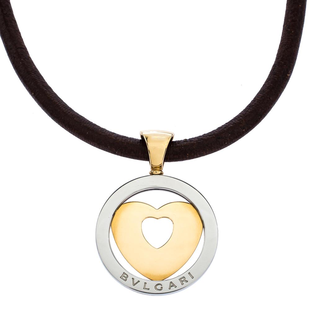 Bvlgari Tondo Heart 18K Yellow Gold & Stainless Steel Pendant Cord Necklace