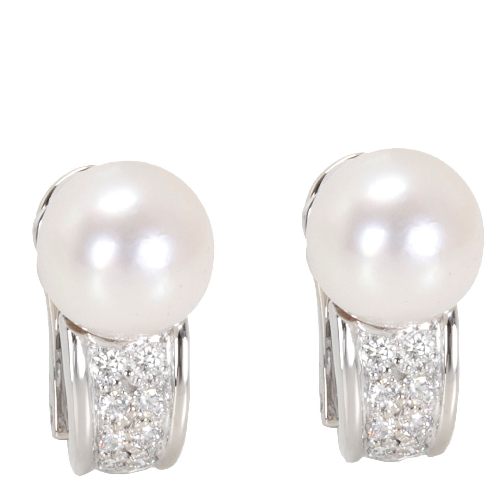 Bvlgari 18K White Gold Pearl & Diamond Earrings