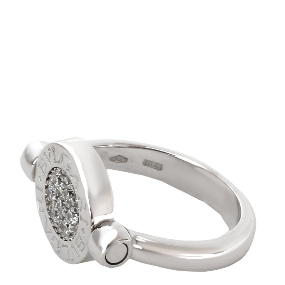 Bvlgari 18K White Gold Diamond Pave Onyx Ring Size 50
