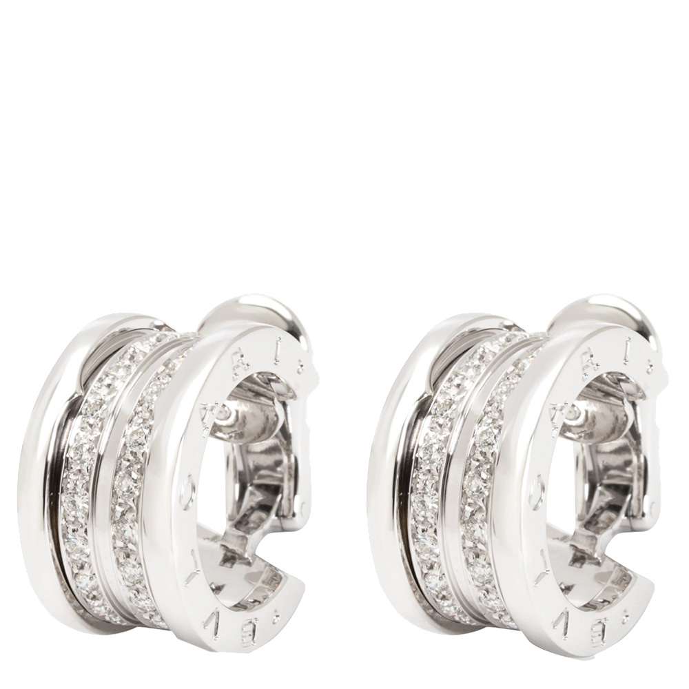 Bvlgari 18K White Gold Diamond B.zero1 Hoop Earrings