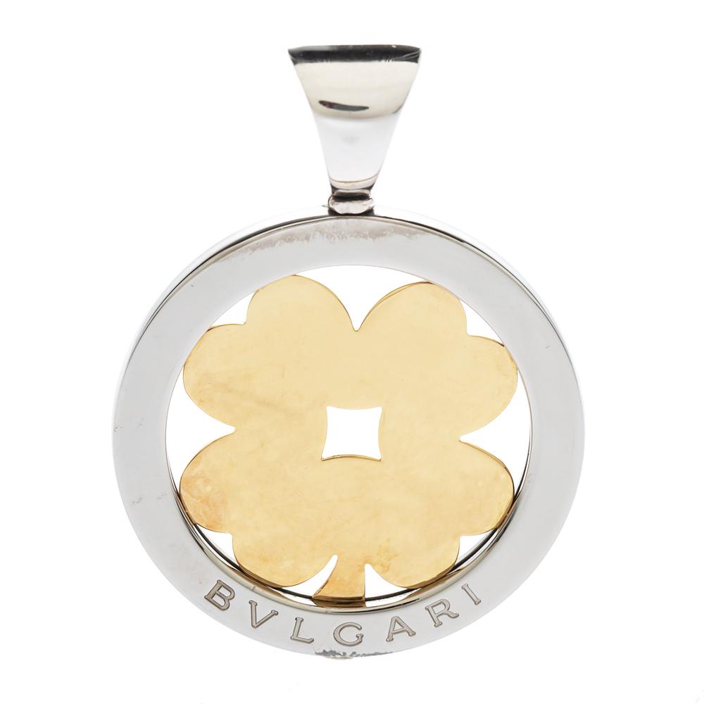 Bvlgari Tondo Clover 18K Yellow Gold & Stainless Steel Pendant