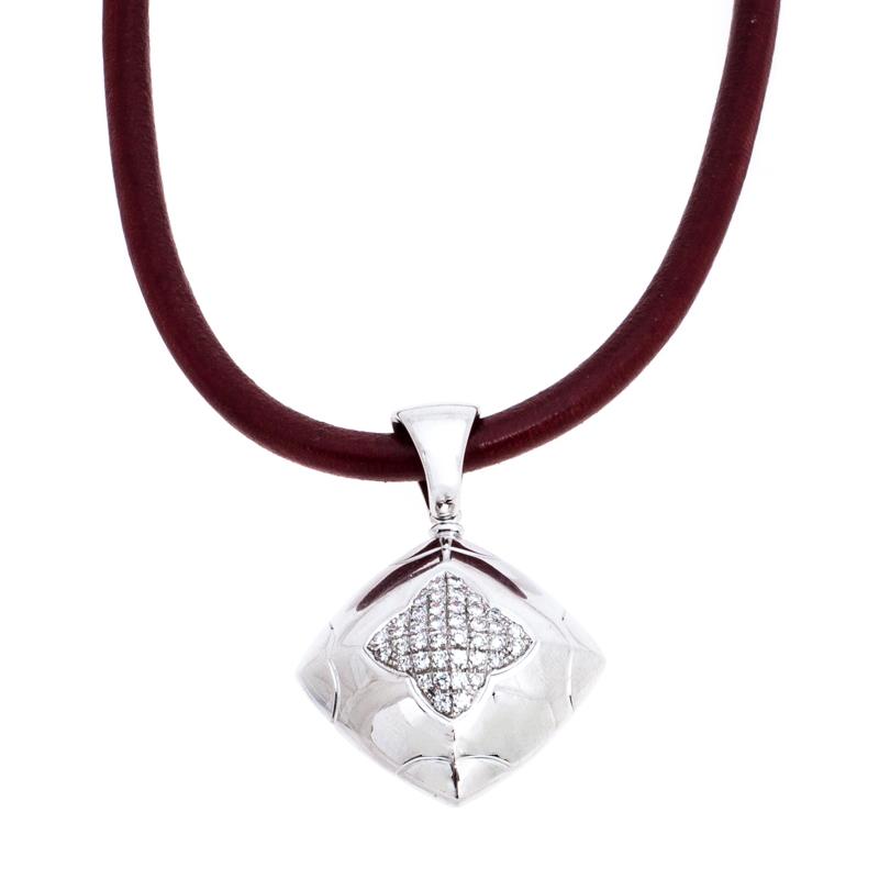 Bvlgari Diamond 18K White Gold Pendant Cord Necklace