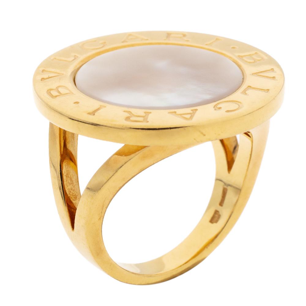 Bvlgari Mother of Pearl Inlay 18k Yellow Gold Circular Ring Size 56